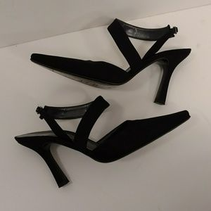 Stuart Weitzman Side Sling Pumps Heels Black Cloth